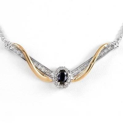 0.59 Carat Sapphire & Diamond Necklace