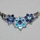 7.65 Carat Blue Topaz, Iolite & Diamond Floral Tier Necklace