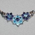 7.65 Carat Blue Topaz, Iolite & Diamond Floral Tier Necklace