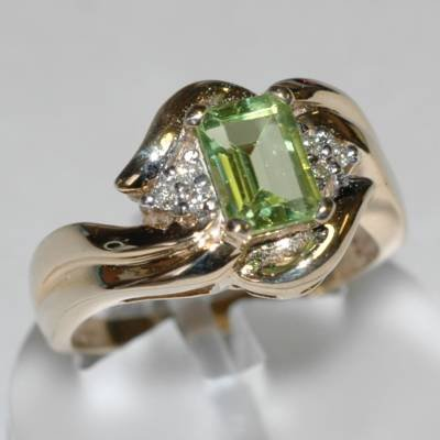 1.10 Carat Peridot & Diamond Ring