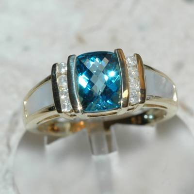 1.37 Carat Topaz, Mother of Pearl & Diamond Ring