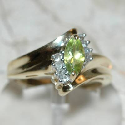0.62 Carat Peridot & Diamond Ring