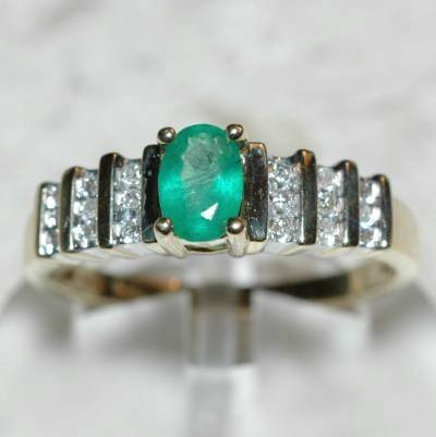 0.60 Carat Diamond & Emerald Ring
