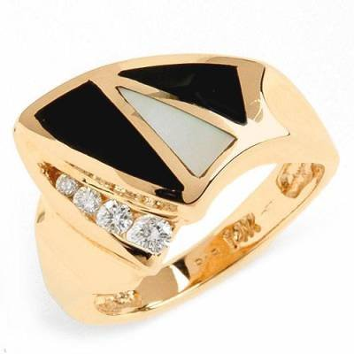0.15 Carat Diamond, Onyx & Mother of Pearl Ring