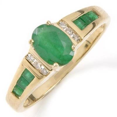 1.0 Carat Emerald & Diamond Ring