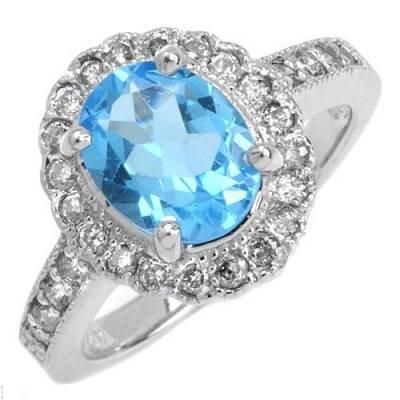 2.75 Carat Blue Topaz & Diamond Ring