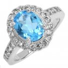 2.75 Carat Blue Topaz & Diamond Ring