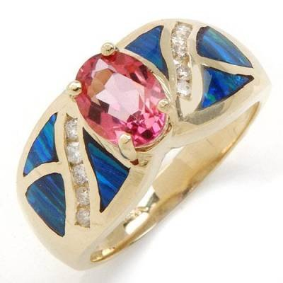 1.74 Carat Genuine Pink Topaz, Diamond & Opal Ring