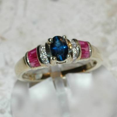 0.90 Carat Sapphire, Ruby & Diamond Ring