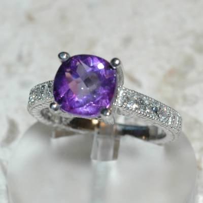 2.57 Carat Amethyst & Diamond Ring
