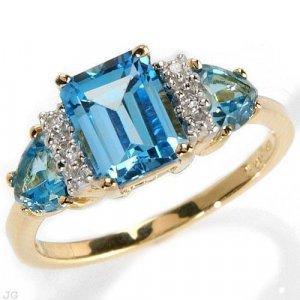 1.8 Carat Blue Topaz & Diamond Ring