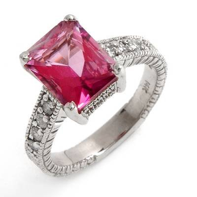 4.13 Carat Pink Topaz & Diamond Ring