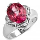4.66 Carat Pink Topaz & Diamond Ring
