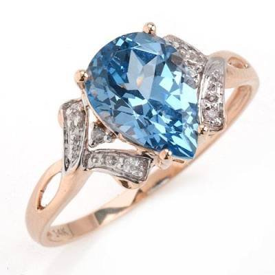 1.99 Carat Blue Topaz & Diamond Ring