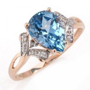 1.99 Carat Blue Topaz & Diamond Ring
