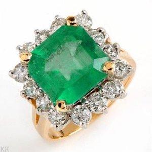 6.83 Carat Emerald & Diamond Ring