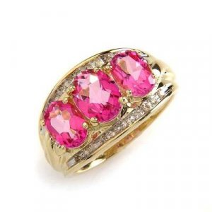 2.6 Carat Pink Topaz & Diamond Ring