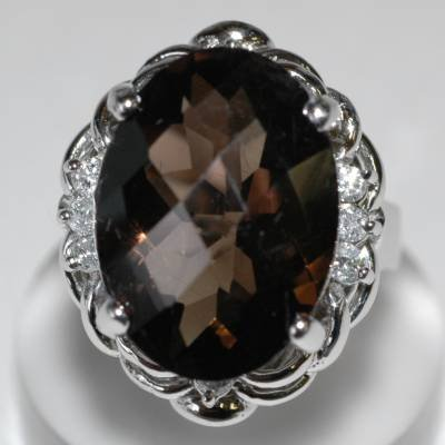 13.20 Carat Smoky Topaz & Diamond Ring