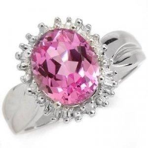 3.5 Carat Pink Topaz & Diamond Ring