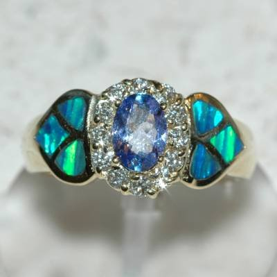 0.92 Carat Tanzanite, Opal & Diamond Ring
