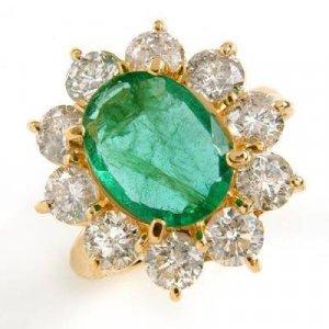 6.65 Carat Emerald & Diamond Ring