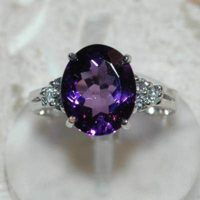 4.21 Carat Amethyst & Diamond Ring