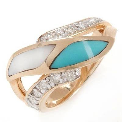 0.38 Carat Diamond, Turquoise & Mother of Pearl Ring