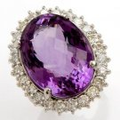 23.71 Carat Amethyst & Diamond Ring