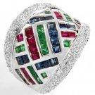 3.5 Carat Ruby, Sapphire, Emerald & Diamond Ring