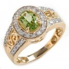 1.0 Carat Peridot & Diamond Ring