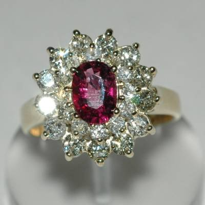 2.36 Carat Pink Tourmaline & Diamond Ring