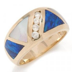 0.18 Carat Opal, Mother Pearl & Diamond Ring