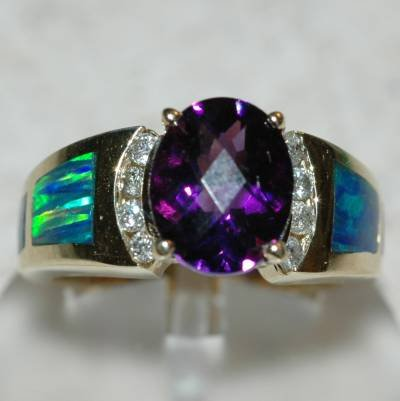 2.85 Carat Amethyst, Opal & Diamond Ring