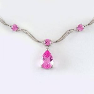 7.0 Carat Pink Topaz & Diamond Necklace