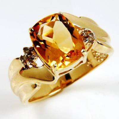 2.61 Carat Citrine & Diamond Ring