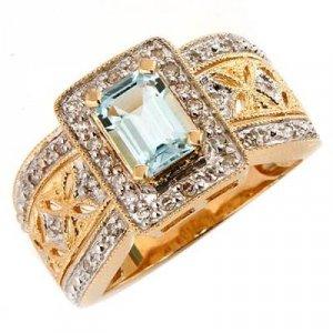 1.25 Carat Aquamarine & Diamond Ring
