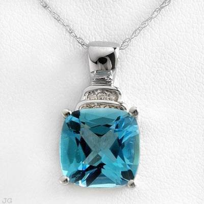 5.37 Carat Blue Topaz & Diamond Pendant