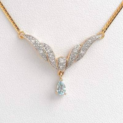 0.30 Carat Aquamarine & Diamond Necklace
