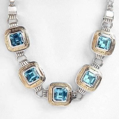 5.4 Carat Blue Topaz Necklace