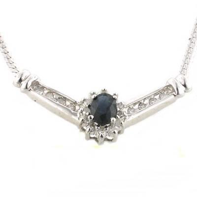 0.80 Carat Sapphire & Diamond Pendant
