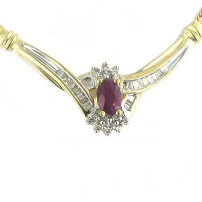 1.07 Carat Ruby & Diamond Necklace