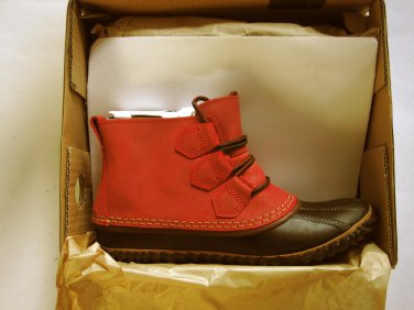 New Sorel Out N About Casual Bootie Waterproof Leather Gypsy/Red Size 7.5Women's
