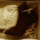 New Giuseppe Zanotti Womens Black Suede Wedge Boots Shoes 7 Medium (B,M)