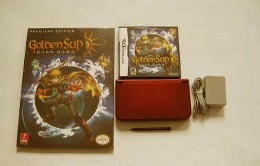 Red Nintendo New 3ds xl w Golden Sun  & More!!!
