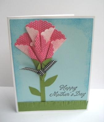 Pink Origami Flower Mothers Day Card