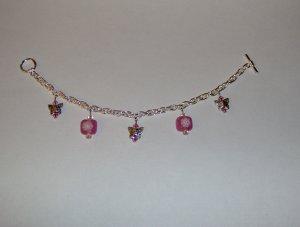 Butterfly Charm Bracelet: Pink