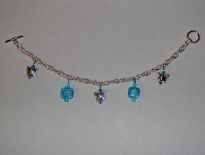 Butterfly Charm Bracelet: Blue