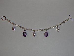 Butterfly Charm Bracelet: Purple