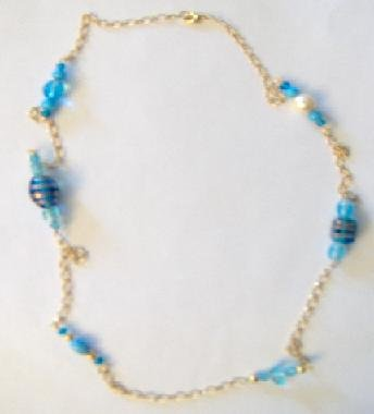Blue Bead Chain Necklace