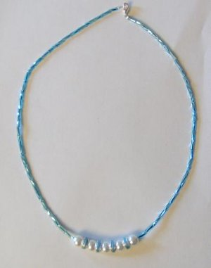 Pearls and Blue Beads Necklace